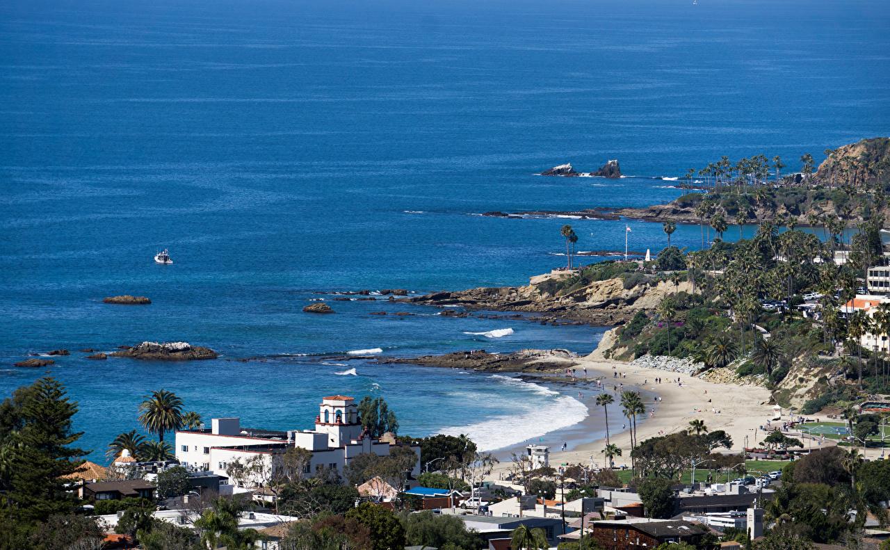 Фото штаты Laguna Beach пляжа Природа берег Здания США америка Пляж пляжи пляже Побережье Дома