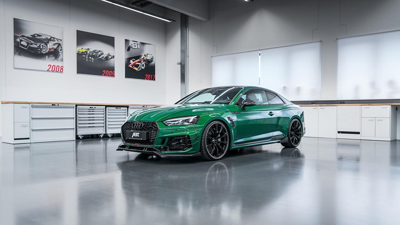 Картинка Audi 2018 ABT RS5-R Купе зеленых автомобиль Ауди зеленая зеленые Зеленый авто машины машина Автомобили