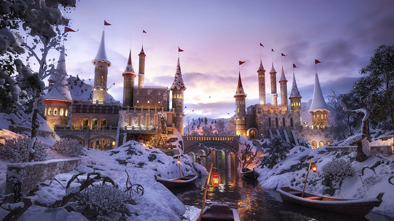 Картинки Зима Негр Мосты Замки 3D Графика Фантастика Реки Лодки зимние Фэнтези речка