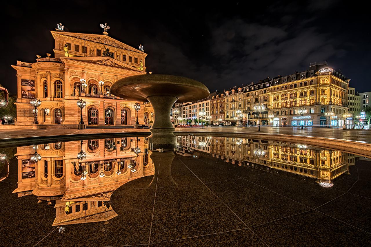 Фотография Франкфурт-на-Майне Германия городской площади Old Opera Отражение Ночь город Здания Городская площадь отражении отражается ночью в ночи Ночные Дома Города