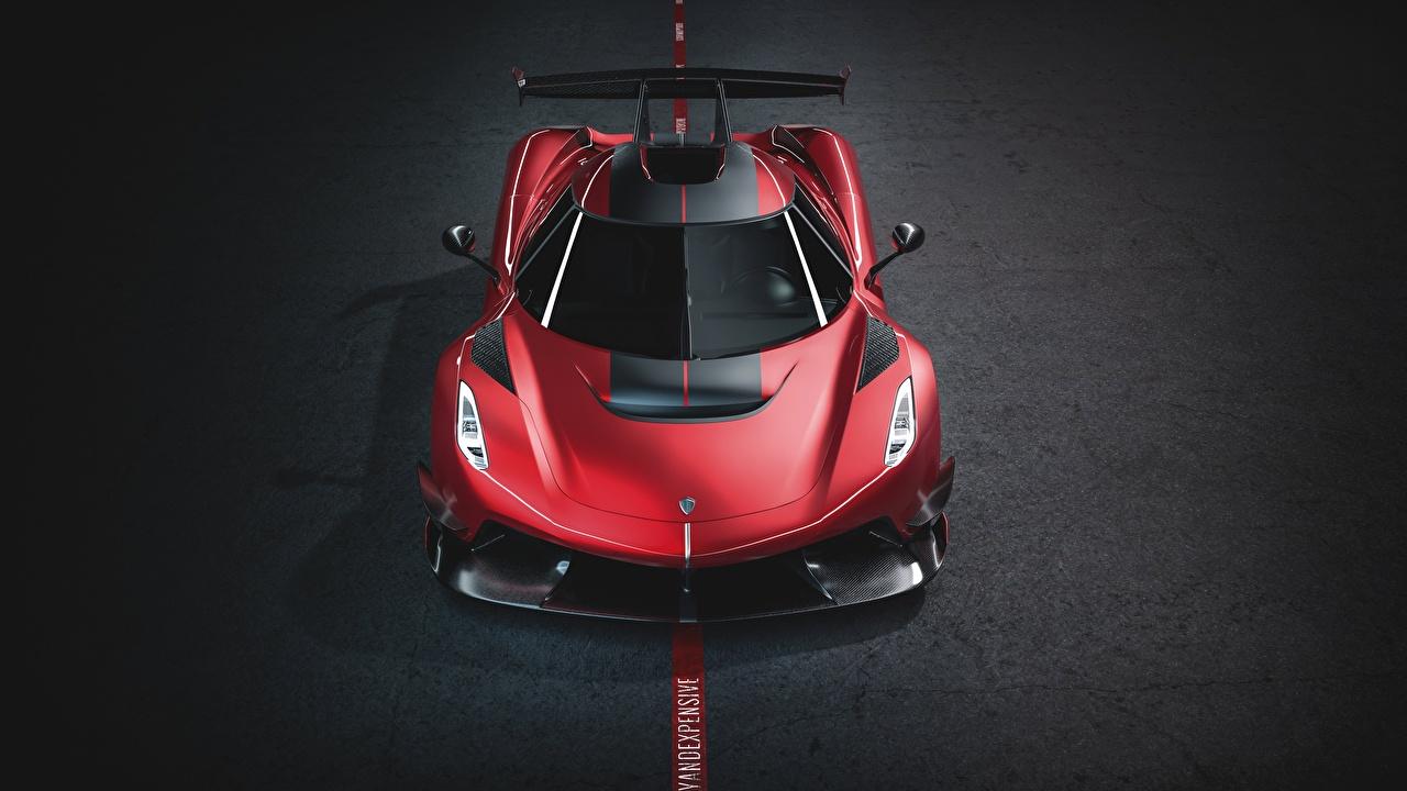 Обои для рабочего стола Кенигсегг 2019 Jesko 1600 Cherry Red Edition машина Спереди Koenigsegg авто машины Автомобили автомобиль