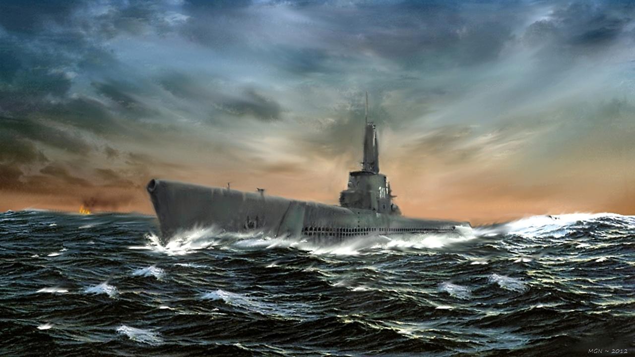 Обои для рабочего стола Подводные лодки USS Archer-Fish (SSAGSS-311) Море Рисованные Армия военные