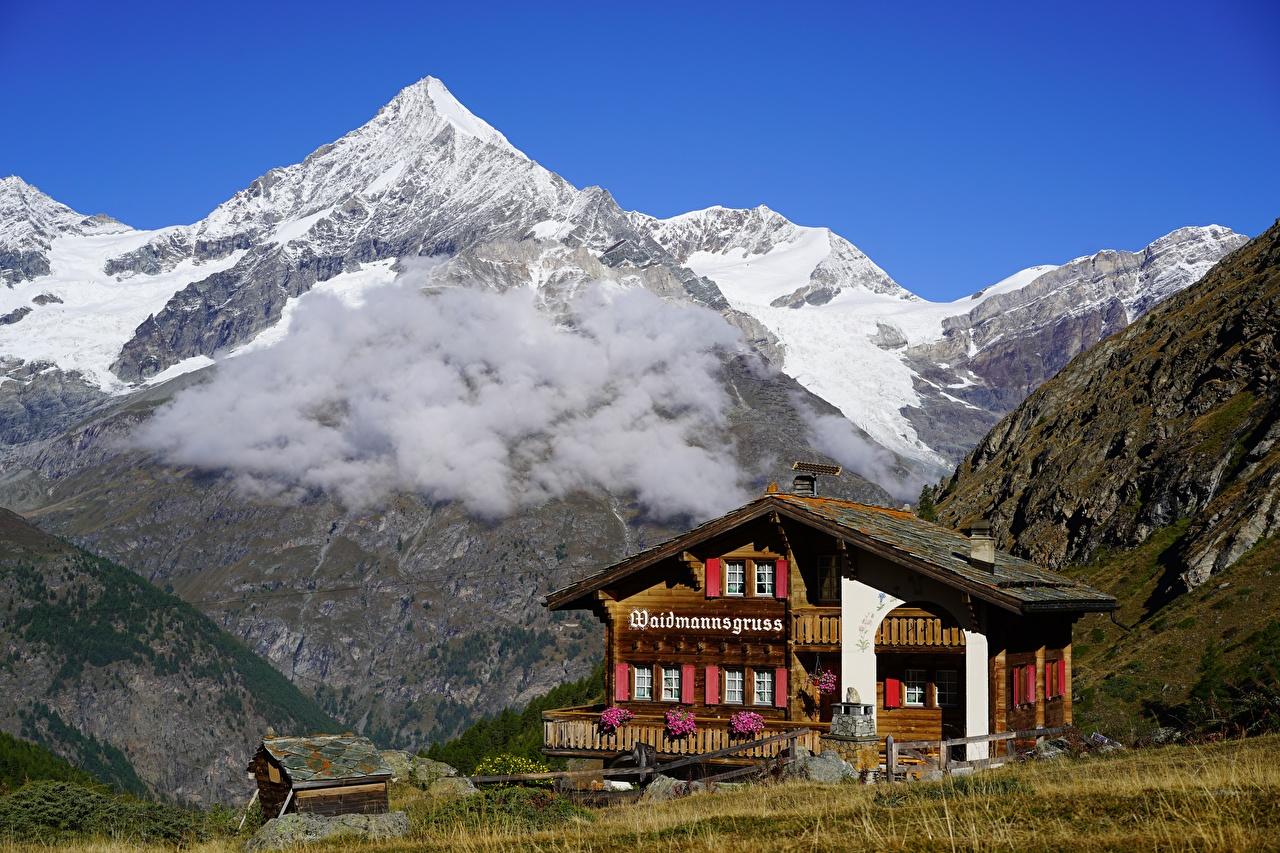 Фотография альп Швейцария Weisshorn, Valais Горы Природа снеге Дома Облака Альпы гора Снег снега снегу Здания облако облачно