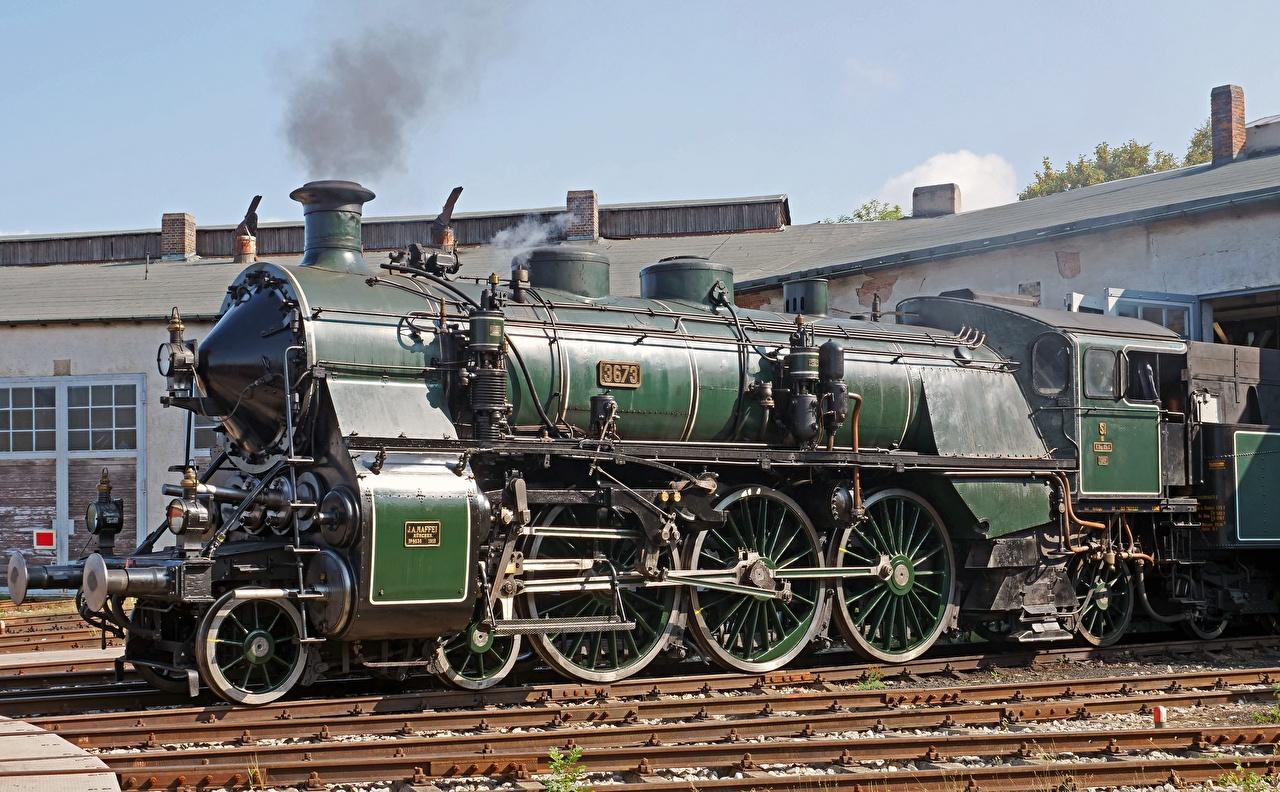 Обои для рабочего стола Ретро зеленые Поезда винтаж зеленых Зеленый зеленая старинные