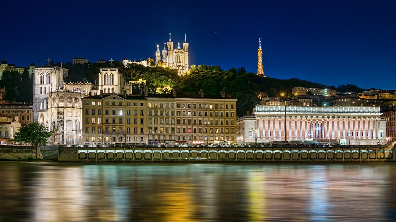 Фото Франция Lyon Rhone River Basilica of Notre-Dame de Fourviere Реки Набережная Города река речка набережной город