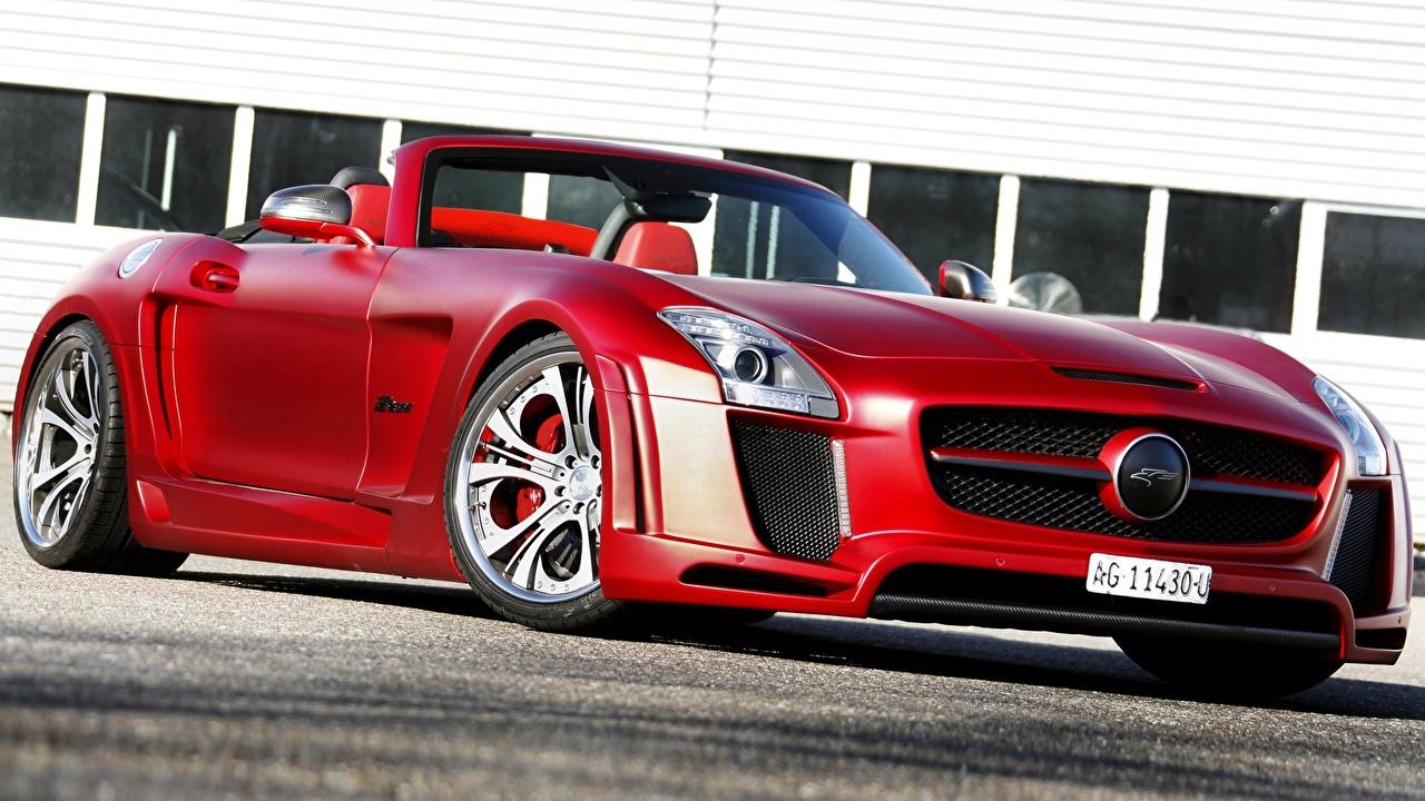Фотографии Mercedes-Benz 2013 FAB Design SLS 63 AMG Roadster Jetstream R197 Родстер Кабриолет красные Автомобили Мерседес бенц кабриолета красных Красный красная авто машина машины автомобиль