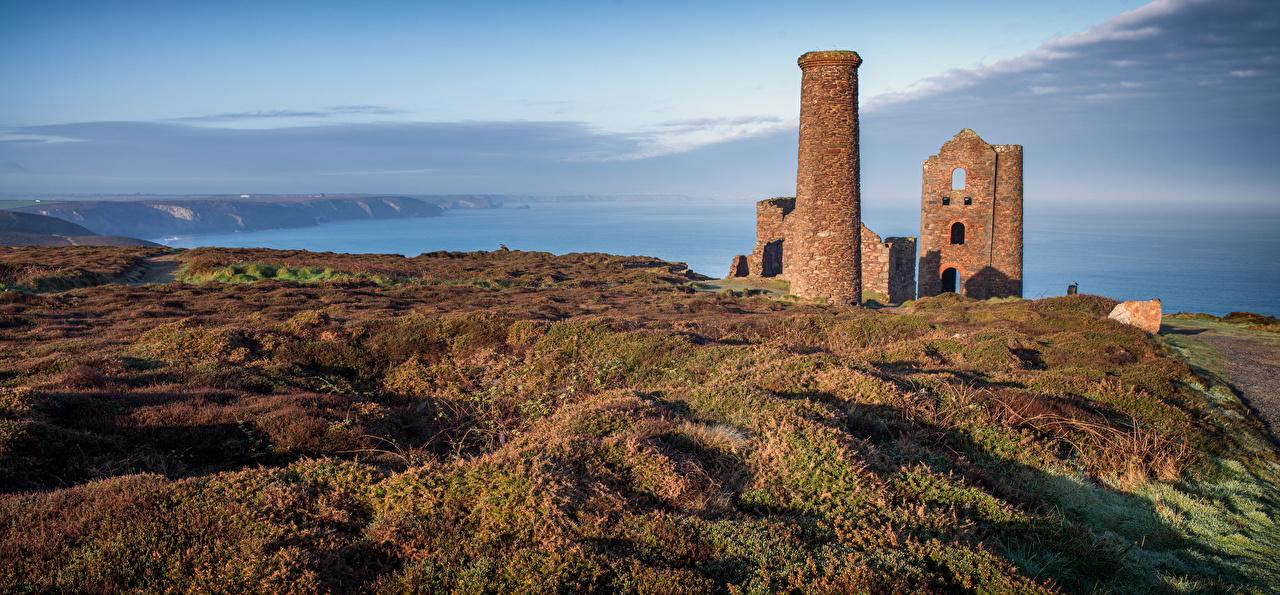 Фотография Англия Башня Cornwall Природа Руины Пейзаж Побережье башни Развалины берег