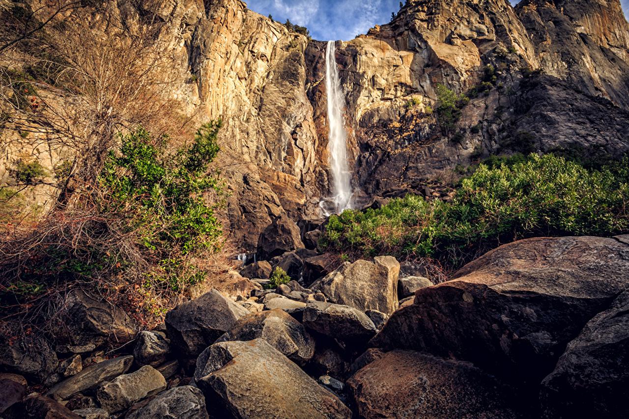 Фотография Йосемити Калифорния США Утес Природа Водопады Парки Камни штаты Скала Камень