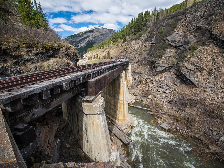 Фотография гора мост Природа речка Железные дороги Горы Мосты Реки река