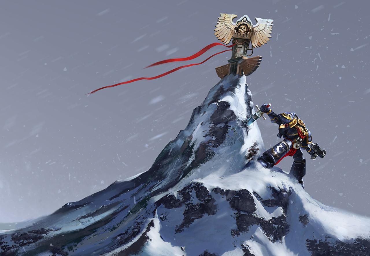 Картинка Warhammer 40000 Мечи Воители Горы Фэнтези Игры Снег воины Фантастика
