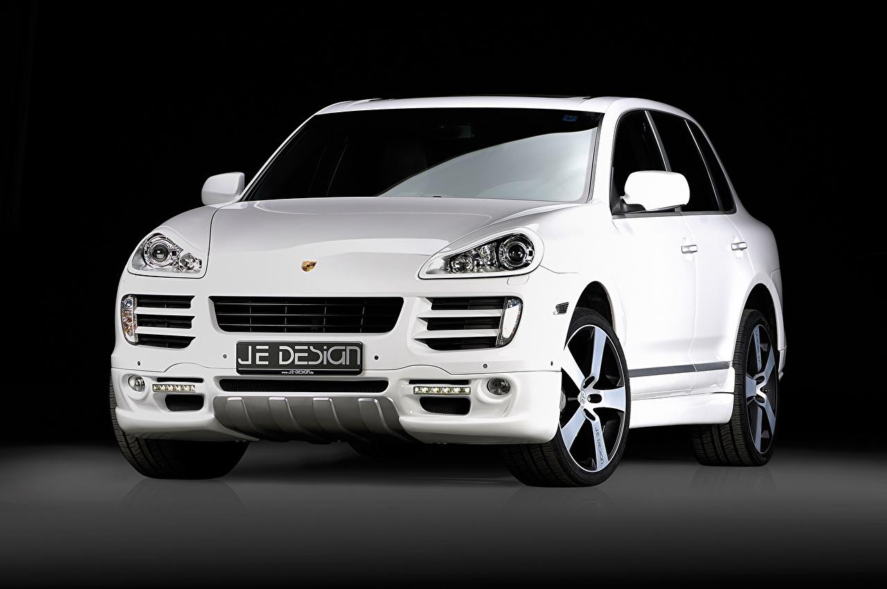 Фото Порше 2008 Je Design Cayenne GTS 957 белая Спереди автомобиль Porsche Белый белые белых авто машины машина Автомобили
