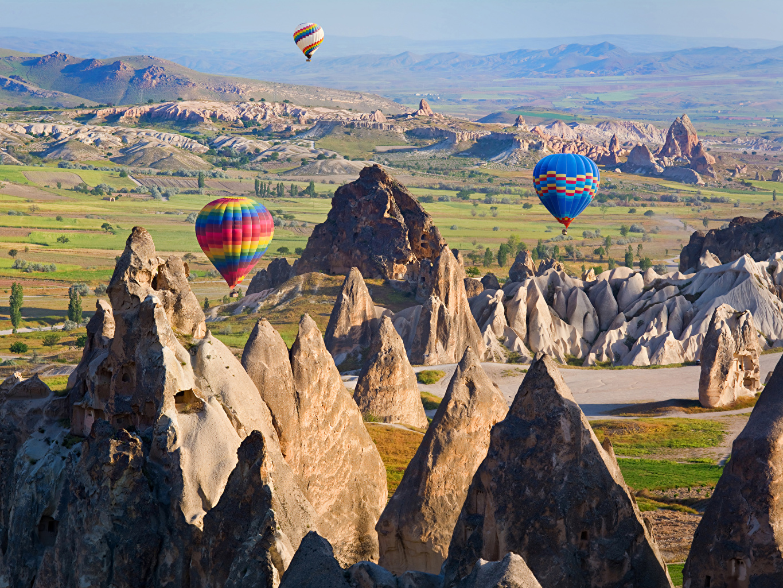 Фото Турция Воздушный шар Cappadocia Утес Природа Парки Аэростат Скала