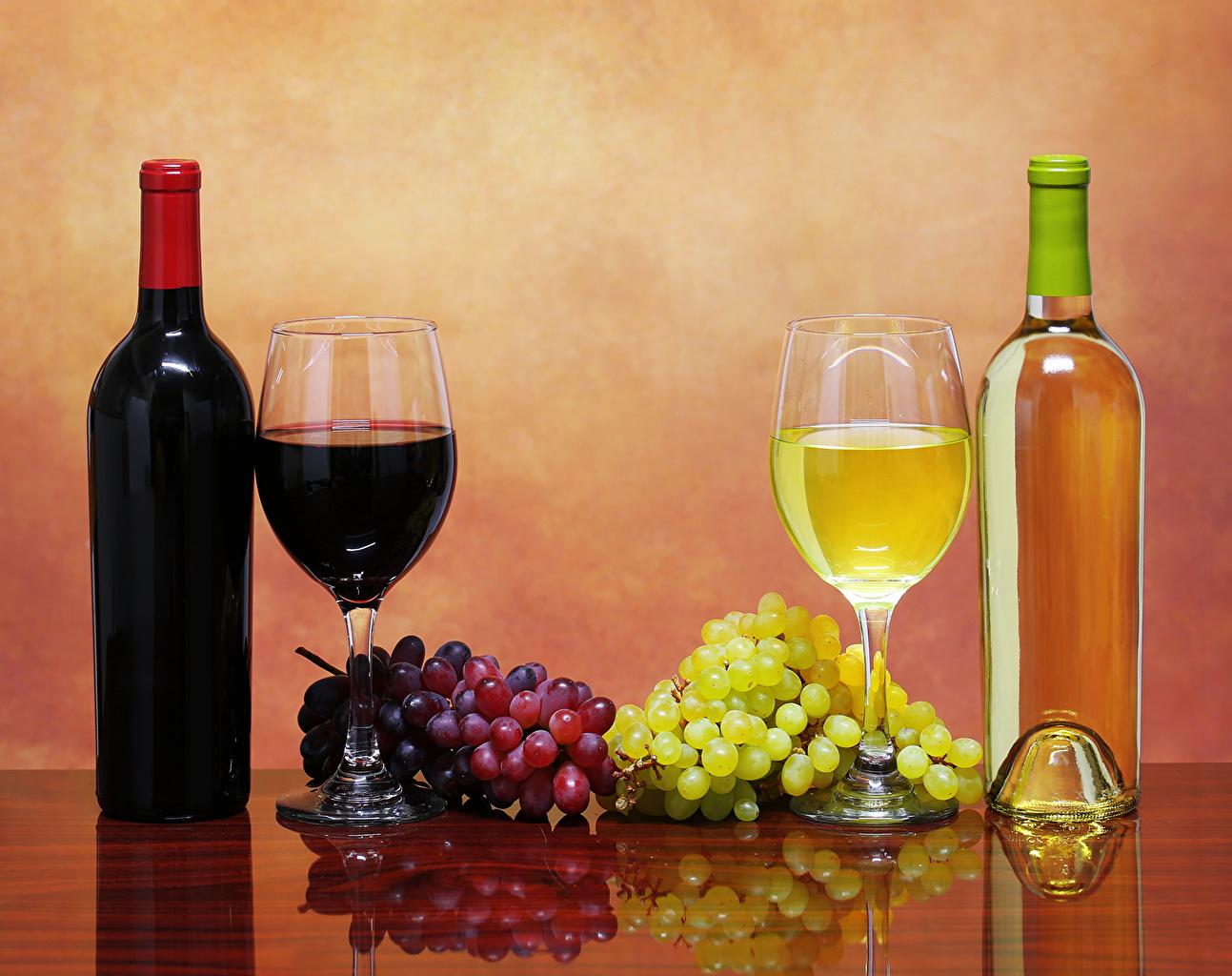 Фотографии Вино Виноград Пища бокал Бутылка напиток Еда Бокалы бутылки Продукты питания Напитки