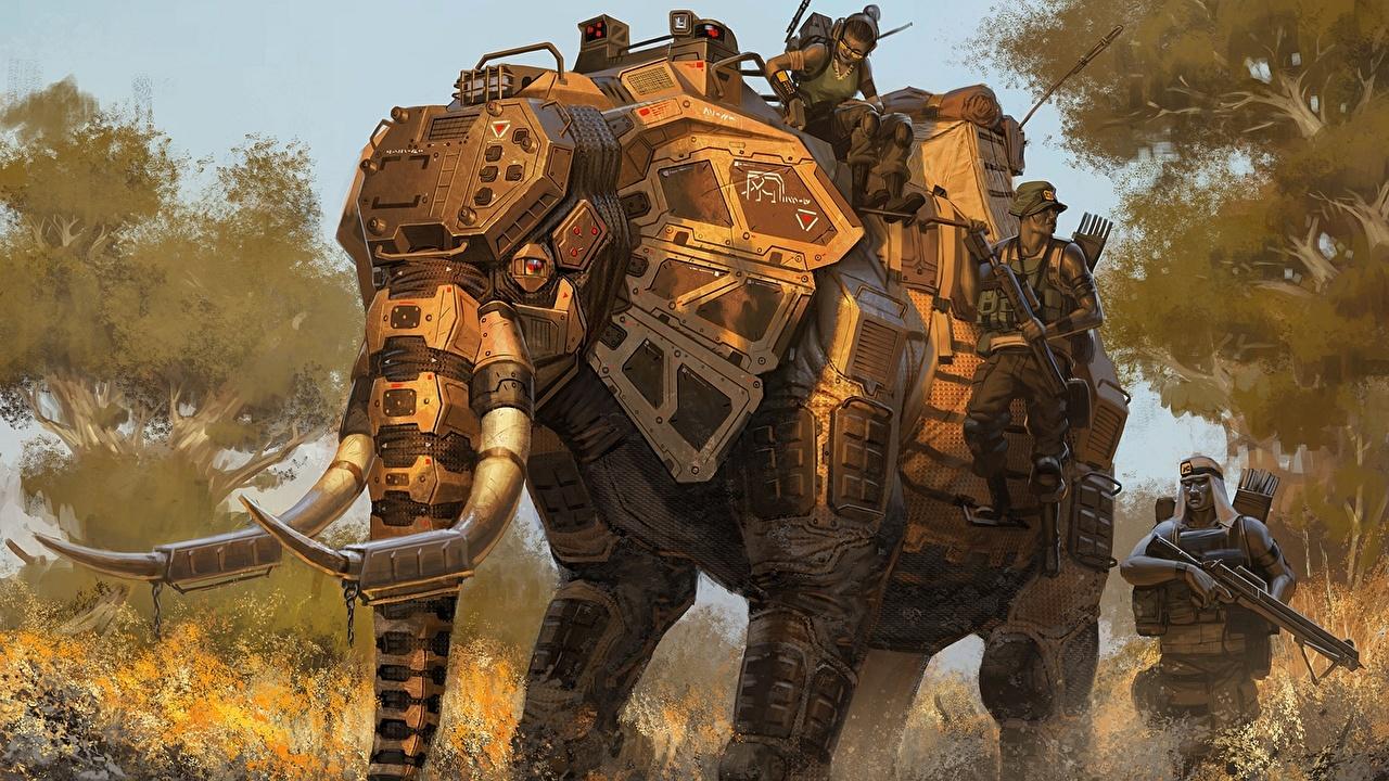 Фотография слон Робот Солдаты Фэнтези Рисованные Слоны солдат роботы робота Фантастика