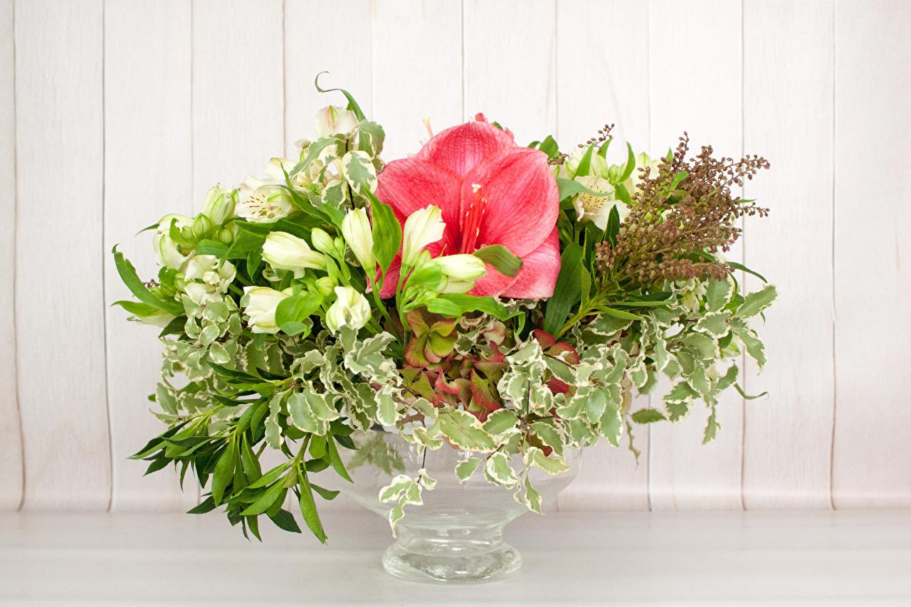 Фото букет Цветы Амариллис Гортензия вазе Доски Букеты цветок Ваза вазы