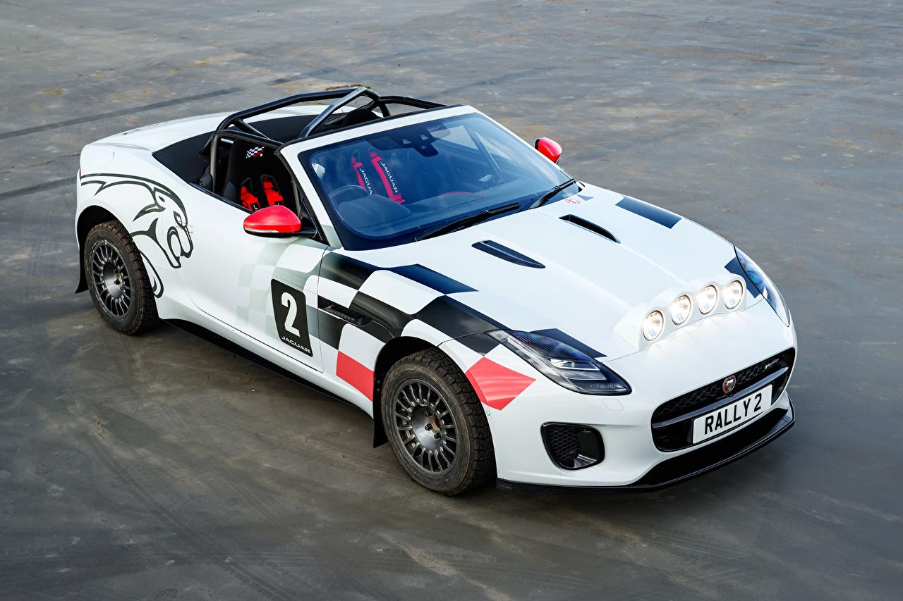 Обои для рабочего стола Jaguar Стайлинг 2018 F-Type Convertible Rally Кабриолет белых машины Ягуар Тюнинг кабриолета Белый белые белая авто машина автомобиль Автомобили