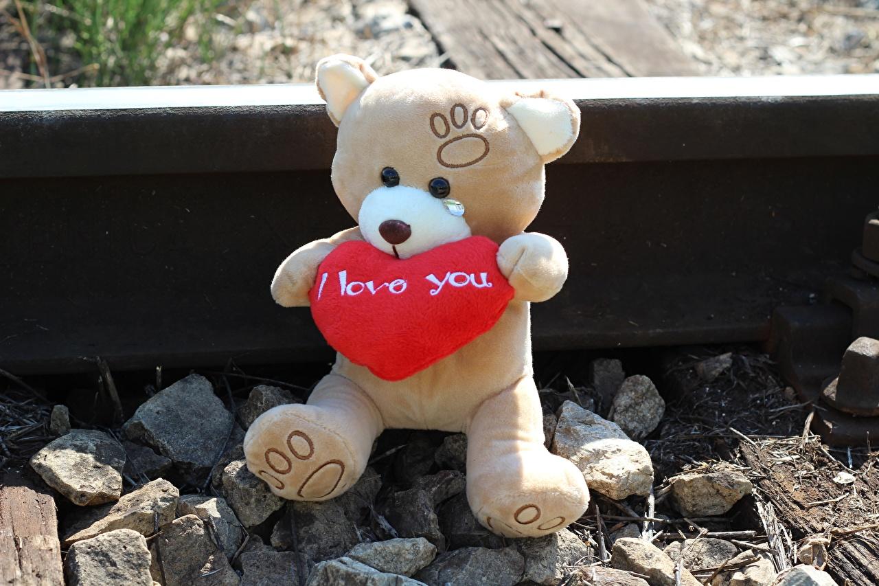 Картинка Рельсы сердечко Любовь Плюшевый мишка Сидит Камни Сердце Мишки Камень сидящие