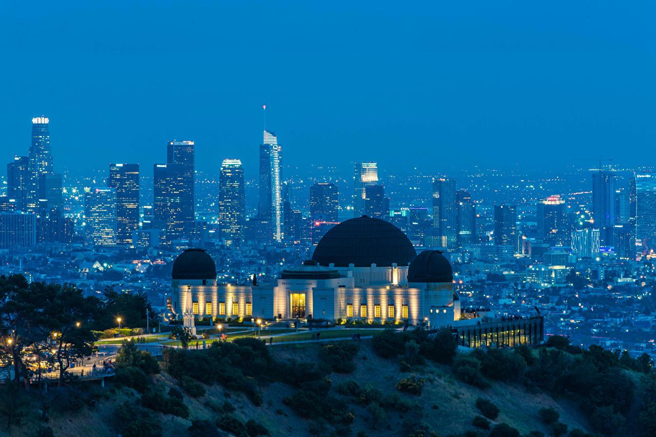 Картинка Лос-Анджелес штаты Griffith Observatory Вечер Дома город США америка Города Здания