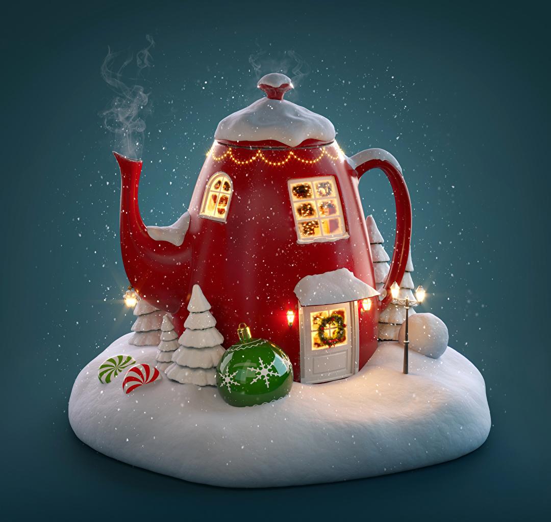 Обои Новый год 3D Графика Снег Чайник Креатив Пар Шар Рождество оригинальные Шарики