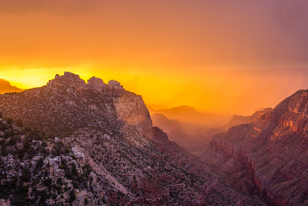 Фото Гранд-Каньон парк США Горы Каньон Природа Парки Рассветы и закаты штаты