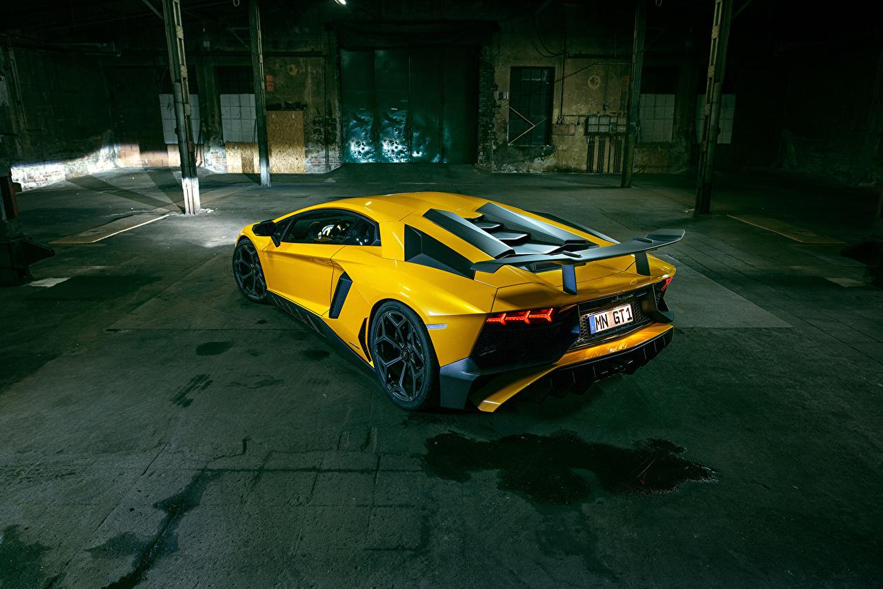 Фото Lamborghini Aventador LP 750-4 SV Superveloce Novitec Torado желтых авто Ламборгини Желтый желтые желтая машина машины автомобиль Автомобили