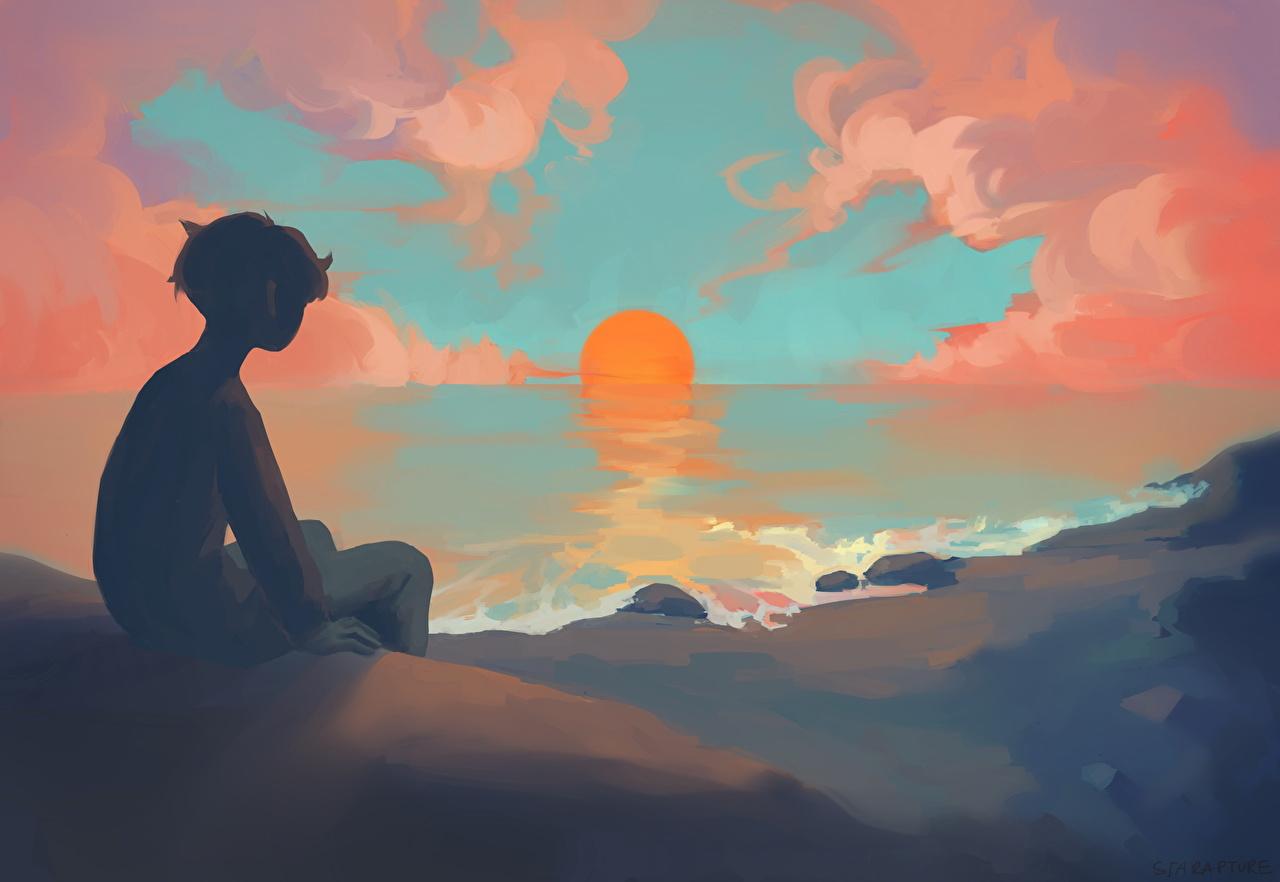 Фото мальчишки Аниме солнца Рассветы и закаты мальчик Мальчики мальчишка Солнце рассвет и закат