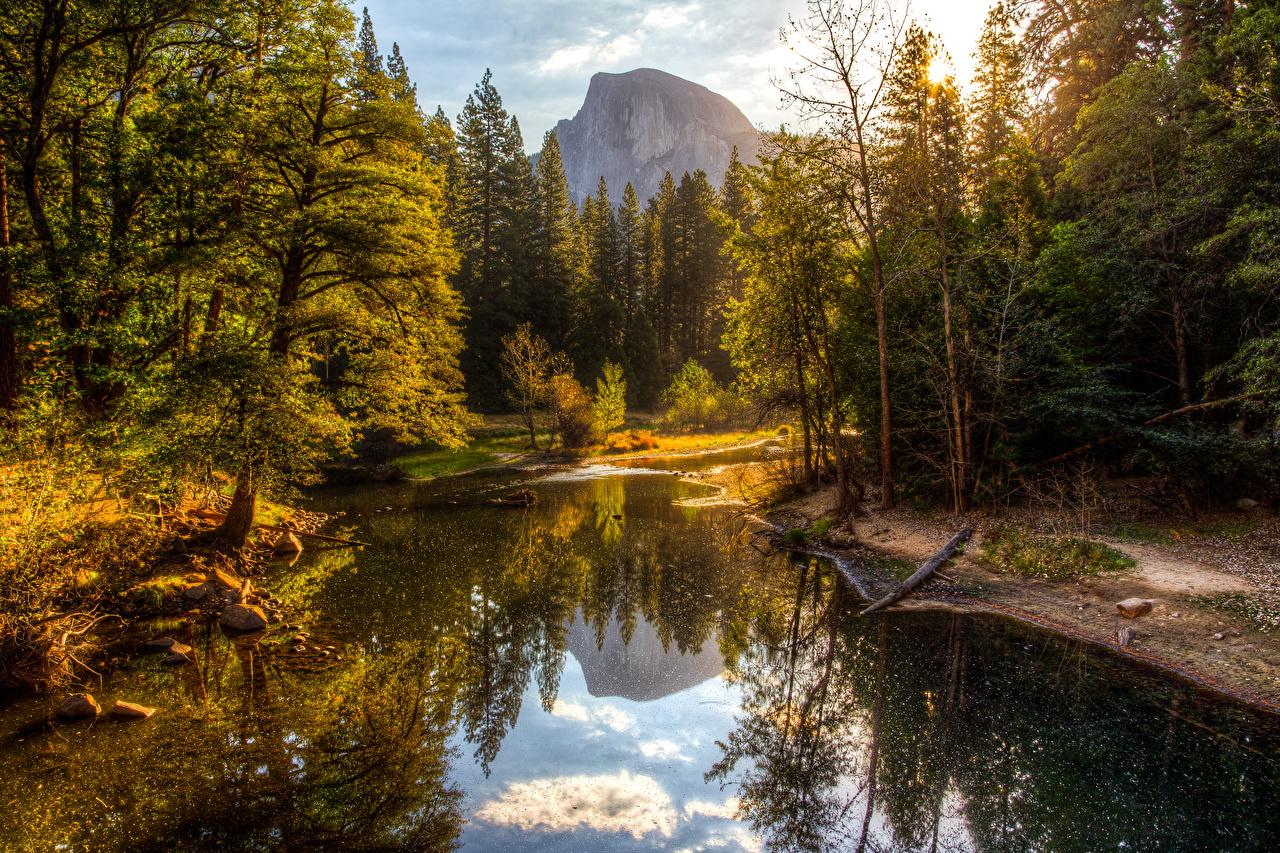 Картинки Йосемити США Горы Осень Природа Леса Озеро Парки деревьев штаты осенние дерево дерева Деревья