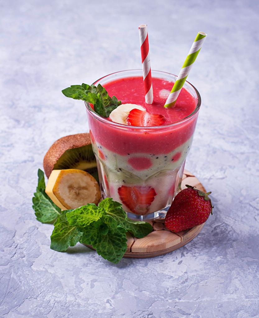 Картинки Стакан Клубника Пища Коктейль  для мобильного телефона стакана стакане Еда Продукты питания