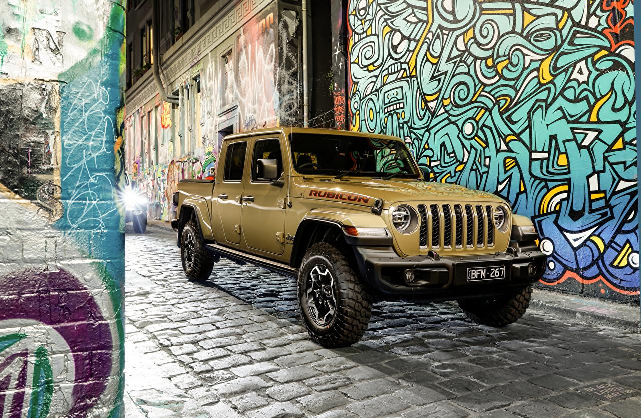 Картинки Джип SUV 2020 Gladiator Rubicon Пикап кузов Металлик Автомобили Jeep Внедорожник авто машины машина автомобиль