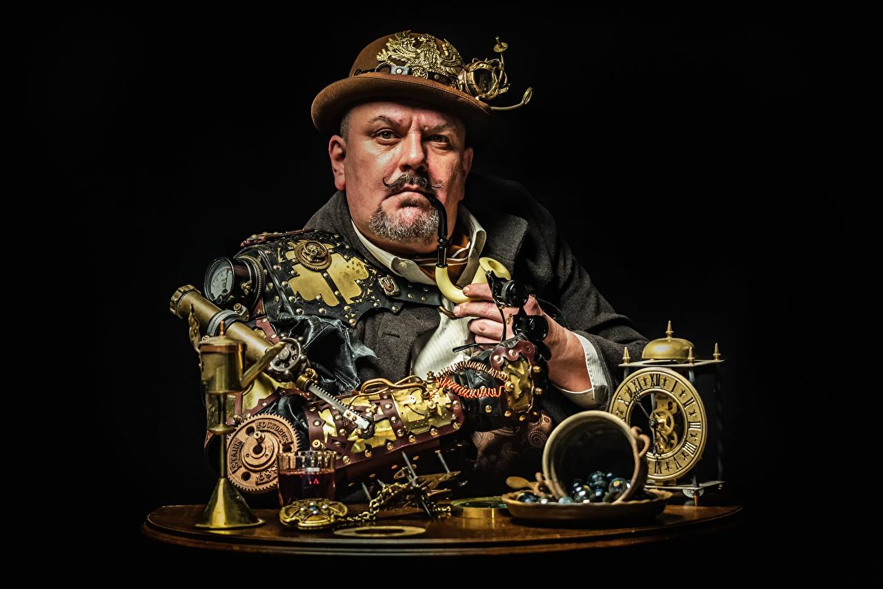 Фотография Стимпанк мужчина механизмы Усы человека Шляпа Взгляд паропанк Мужчины усами Механизм механизма шляпы шляпе смотрит смотрят