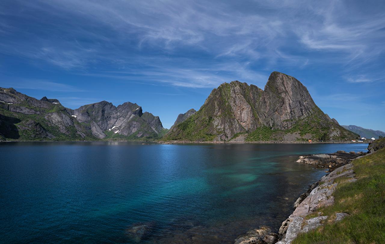 Фотографии Лофотенские острова Норвегия Hamnøya Фьорд гора Природа Горы