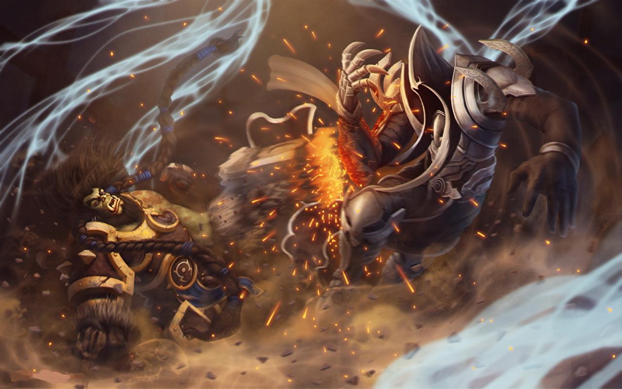 Картинки Diablo 3 Heroes of the Storm Орки Магия Archangel of Wisdom, Thrall,  Angel of Death, Malthael Фантастика Игры Ангелы Diablo III волшебство Фэнтези