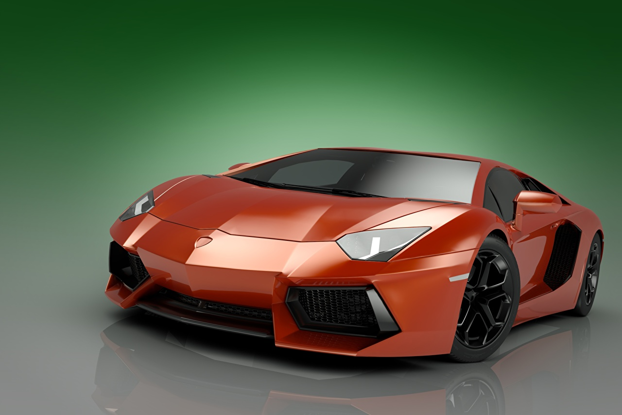 Картинка Lamborghini Aventador LP700 V12 3д Красный автомобиль Ламборгини красных красные красная 3D Графика авто машина машины Автомобили