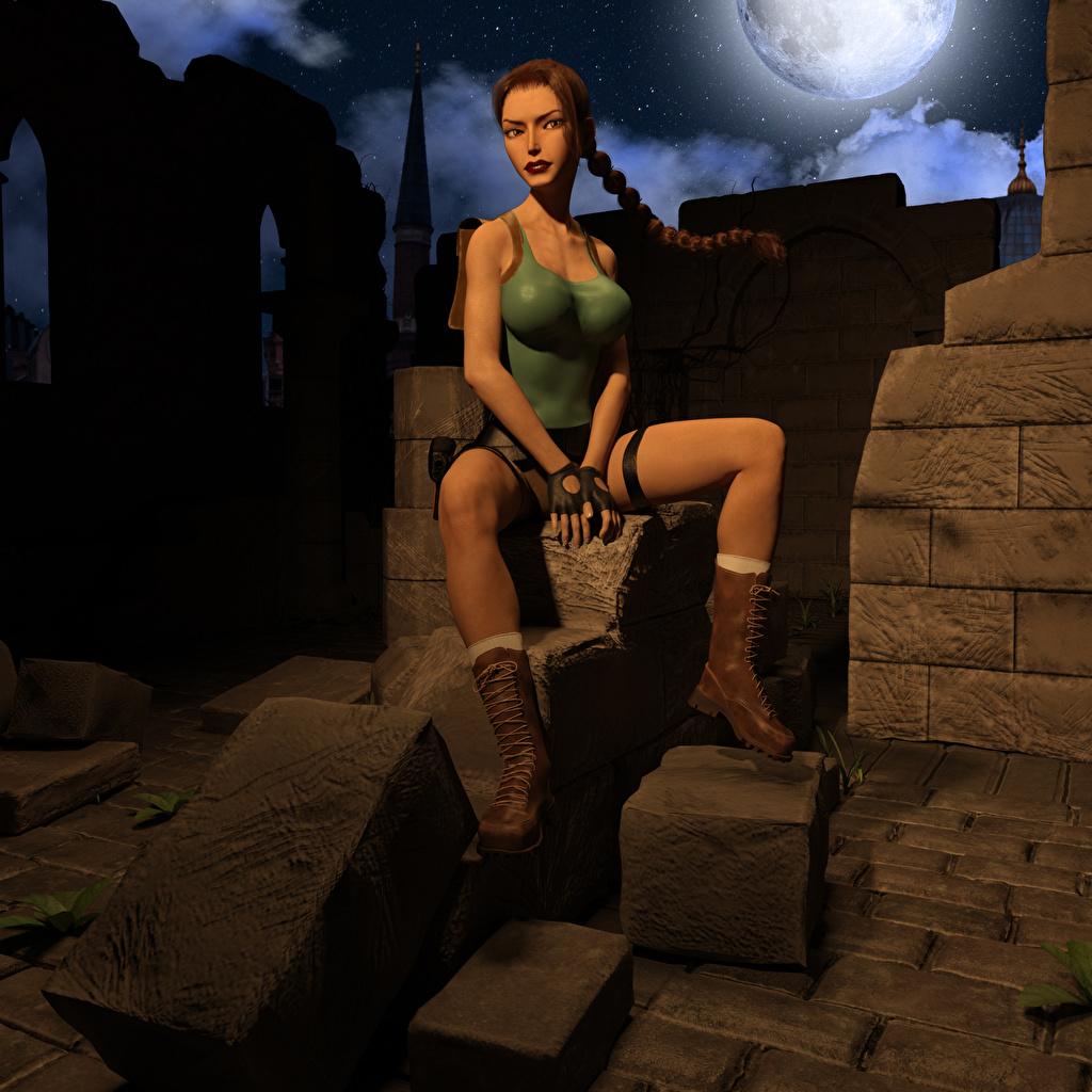 Фотографии Tomb Raider Tomb Raider Legend Лара Крофт косы Девушки 3D Графика Игры Сидит Коса косички 3д девушка молодые женщины молодая женщина компьютерная игра сидя сидящие