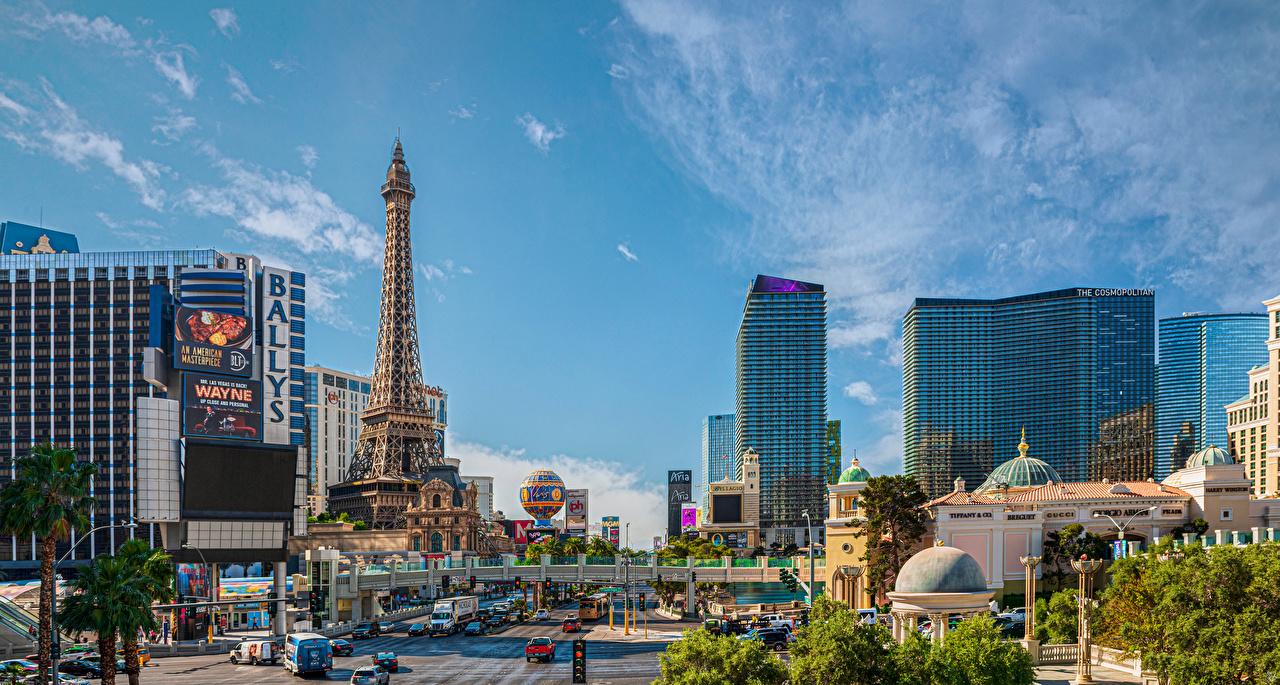 Фото Лас-Вегас америка Башня улиц Дома Города США штаты башни улице Улица город Здания
