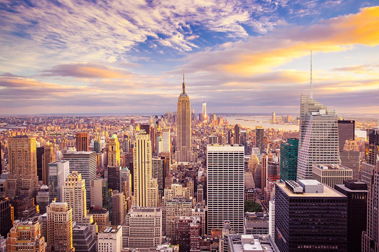 Фотография Нью-Йорк США Мегаполис Небо Небоскребы Города облачно штаты америка мегаполиса город облако Облака