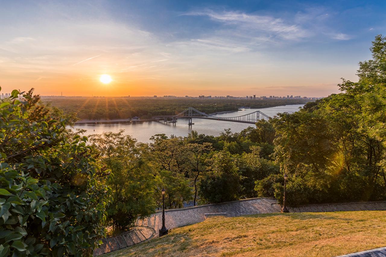 Фотография Киев Украина Dnieper River Мосты рассвет и закат Реки Города мост Рассветы и закаты река речка город