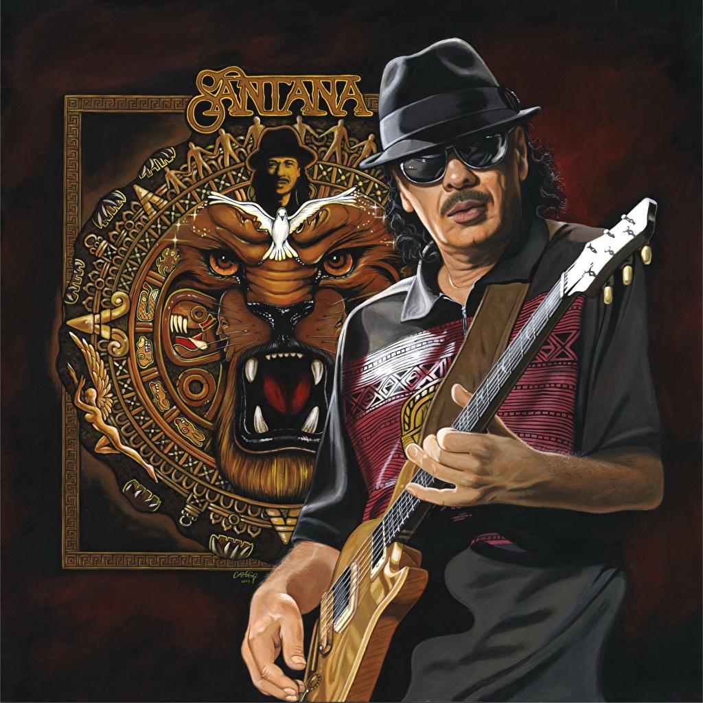 Мужчины Рисованные Santana Гитара Шляпа Очки Музыка