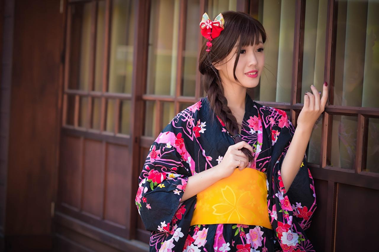 Фотография шатенки косички Кимоно Девушки азиатки Шатенка косы Коса девушка молодые женщины молодая женщина Азиаты азиатка