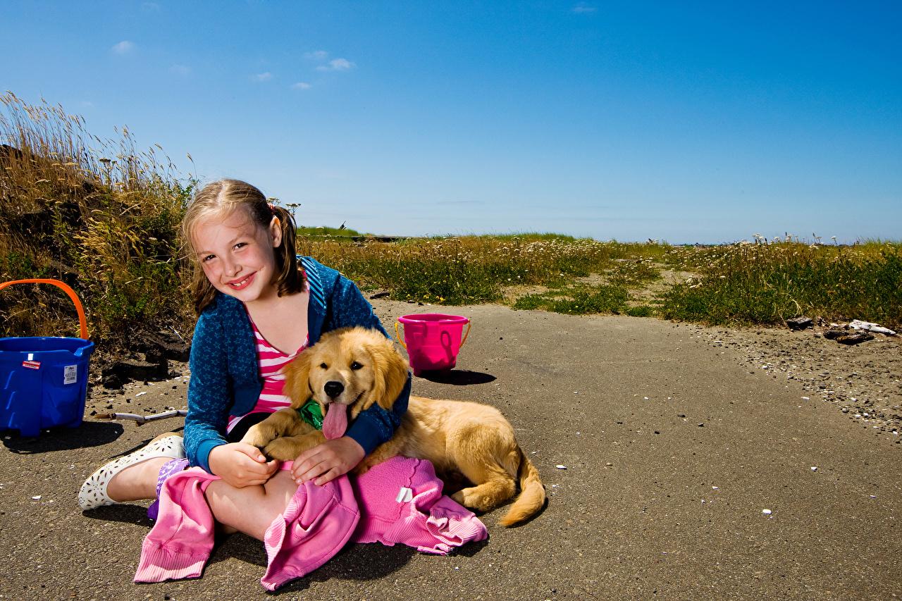 Обои для рабочего стола щенки Девочки Золотистый ретривер Собаки Улыбка Дети Сидит Взгляд животное Щенок щенка щенков девочка собака улыбается ребёнок сидя сидящие смотрит смотрят Животные