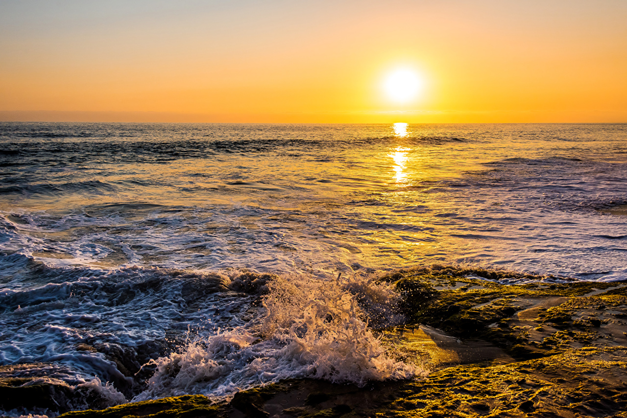 Фотография Море Солнце Природа Волны рассвет и закат солнца Рассветы и закаты