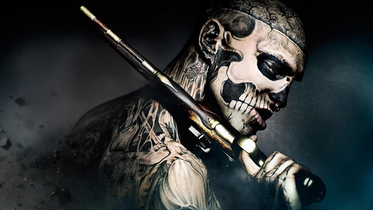Обои для рабочего стола 47 ронинов 2013 Татуировки пистолет Мужчины лица кино тату татуировка Пистолеты пистолетом мужчина Лицо Фильмы