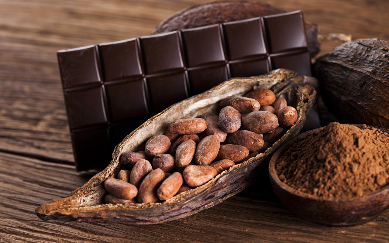 Картинка Пища Шоколад Доски Какао порошок Орехи Сладости Шоколадная плитка Еда Продукты питания сладкая еда шоколадка