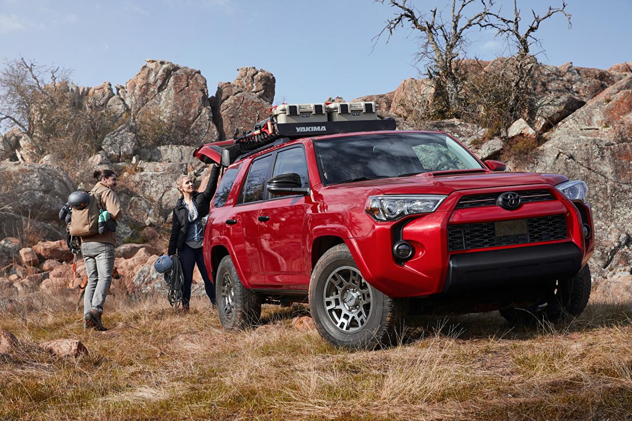 Картинки Toyota Внедорожник 2020 4Runner Venture Edition красные Металлик Автомобили Тойота SUV красная Красный красных авто машины машина автомобиль