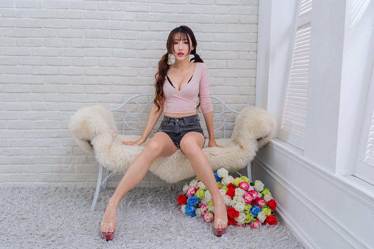 Фото Блузка роза молодые женщины Ноги Азиаты Шорты сидящие смотрит Розы девушка Девушки молодая женщина ног азиатки азиатка шорт сидя Сидит шортах Взгляд смотрят