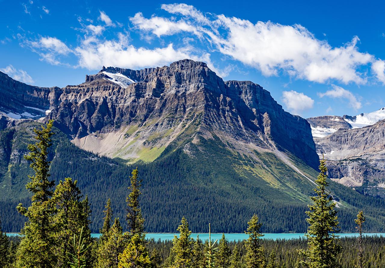 Обои для рабочего стола Банф Канада Горы Природа парк Озеро гора Парки