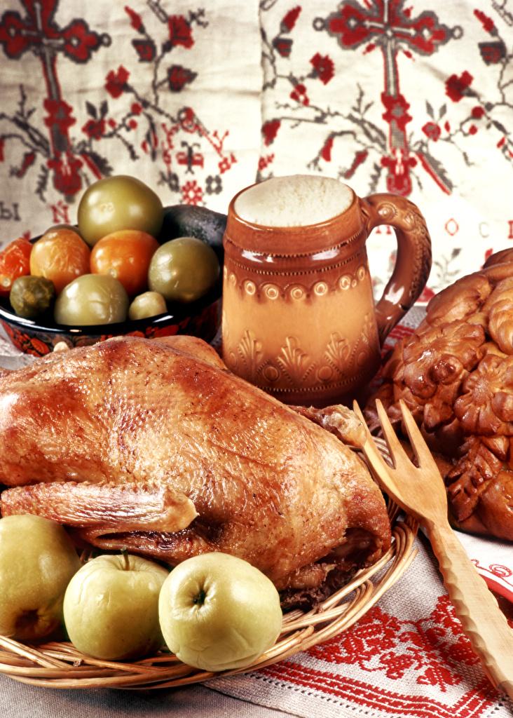 Обои Яблоки Курица запеченная Продукты питания Еда Пища