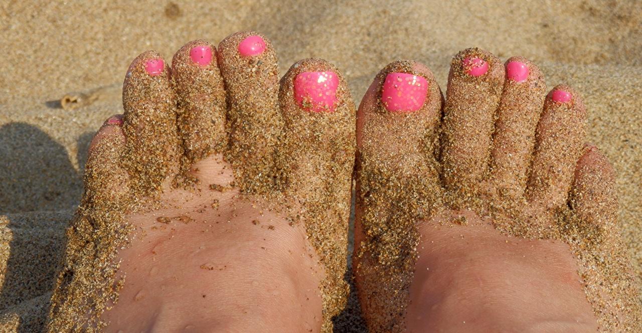 Фотографии Маникюр Ноги Песок Пальцы вблизи Крупным планом