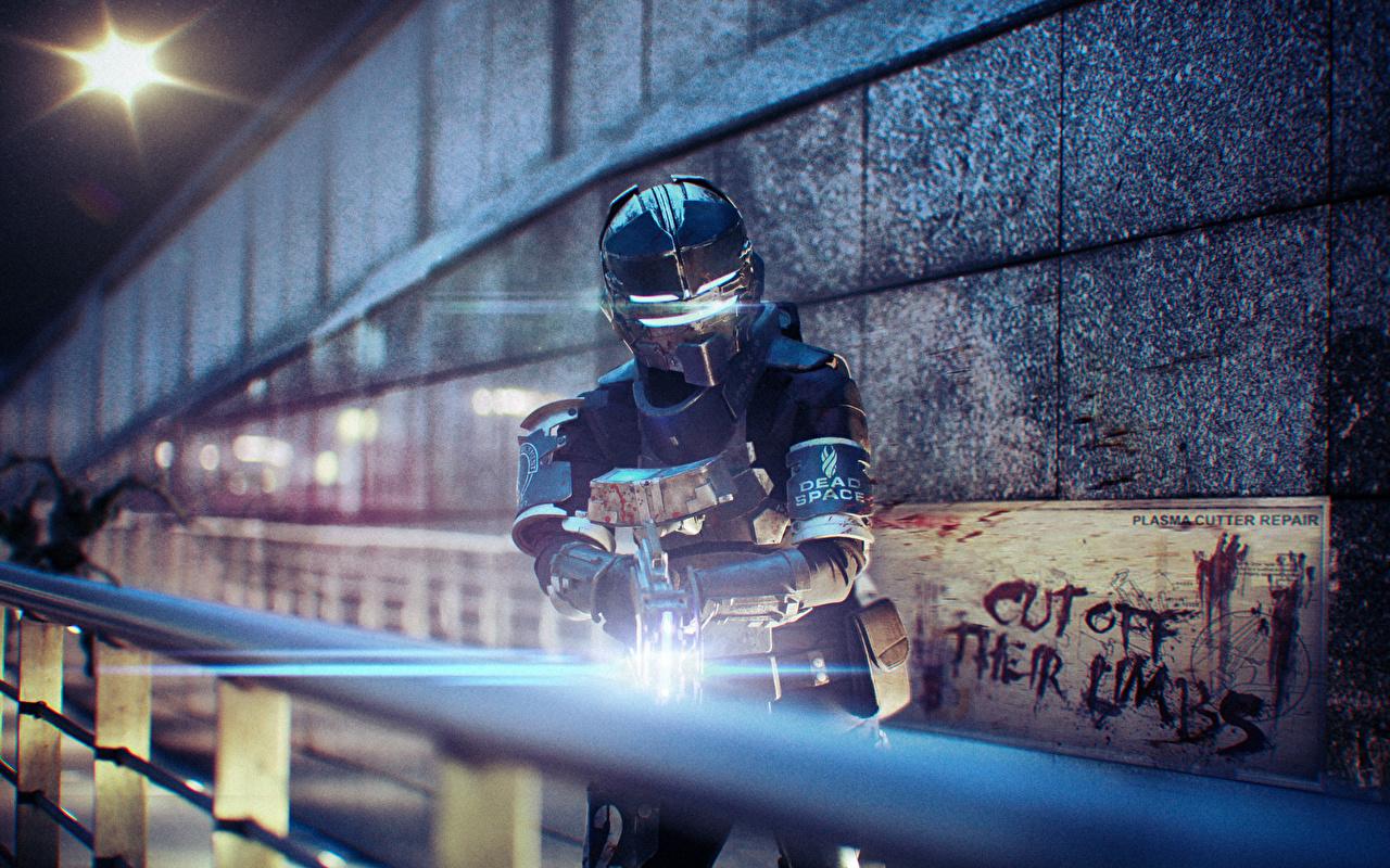 Фото Фантастика Dead Space Dead Space 3 доспехе шлема Воители Игры 3D Графика Фан АРТ Фэнтези броня броне Доспехи доспехах воин Шлем воины в шлеме 3д компьютерная игра Fan ART