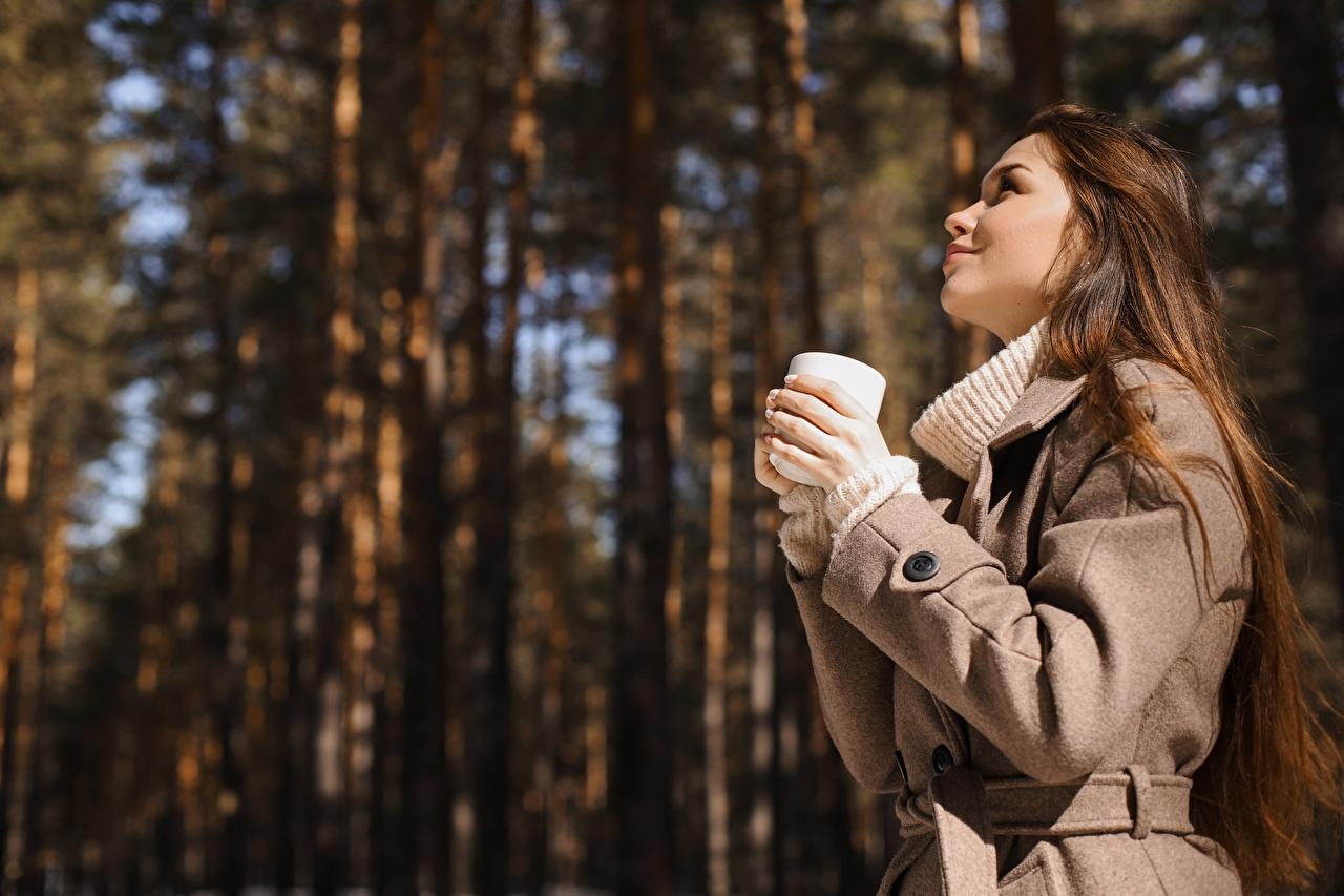 Обои для рабочего стола шатенки боке Пальто Девушки Руки Сбоку Кружка Шатенка Размытый фон девушка молодая женщина молодые женщины рука кружки кружке